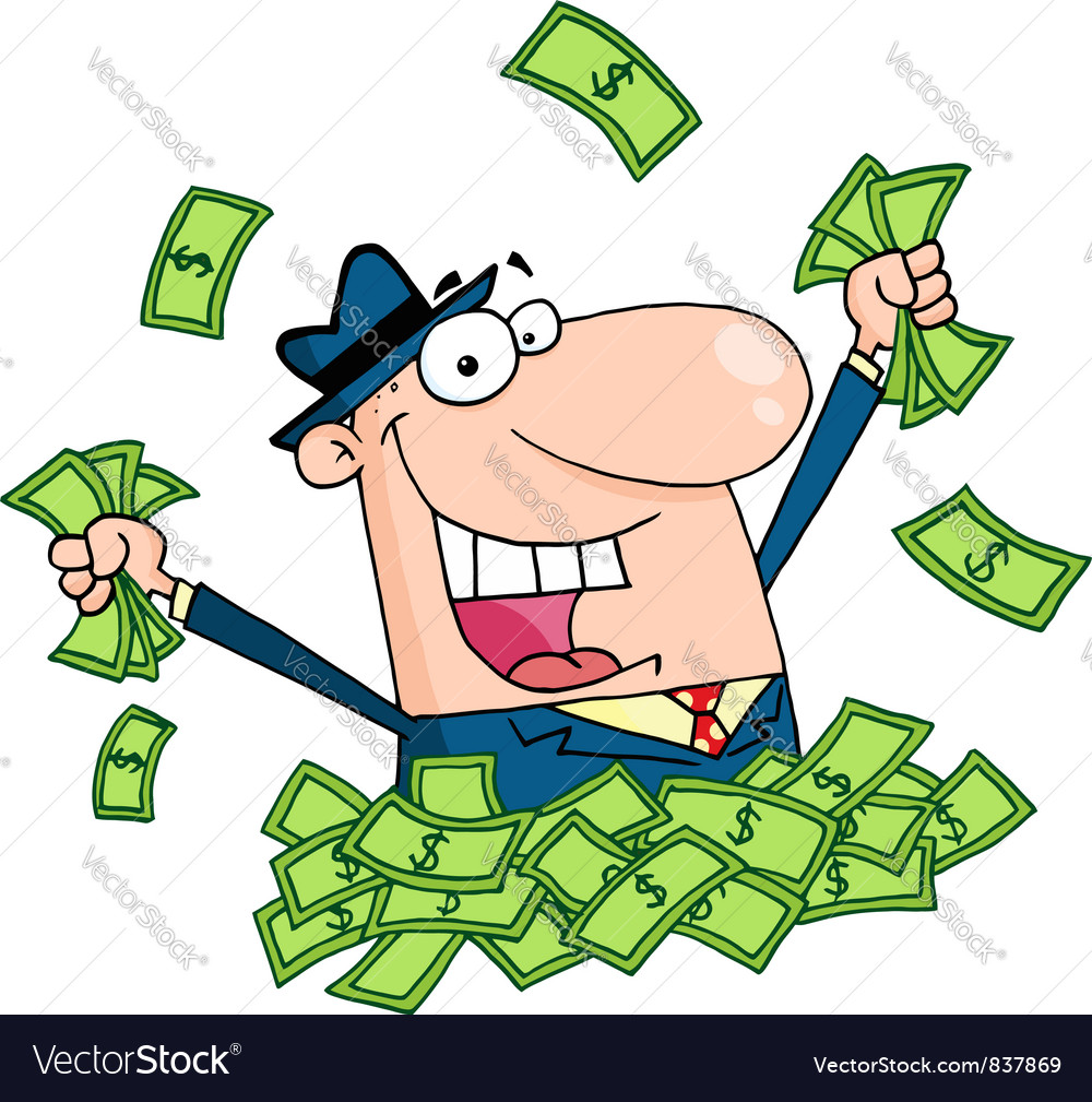 Salesman playing in a pile of money vector | Price: 1 Credit (USD $1)