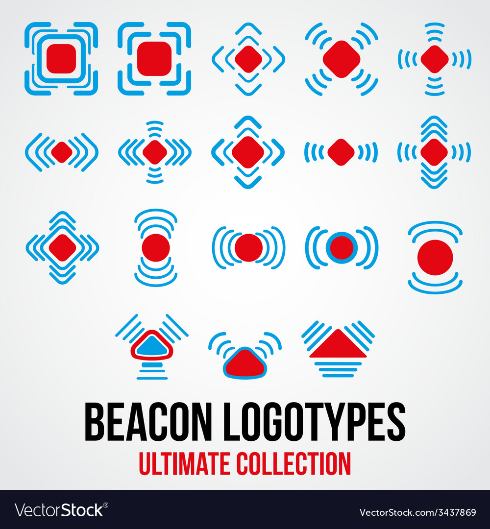 Set of black beacon icons vector | Price: 1 Credit (USD $1)