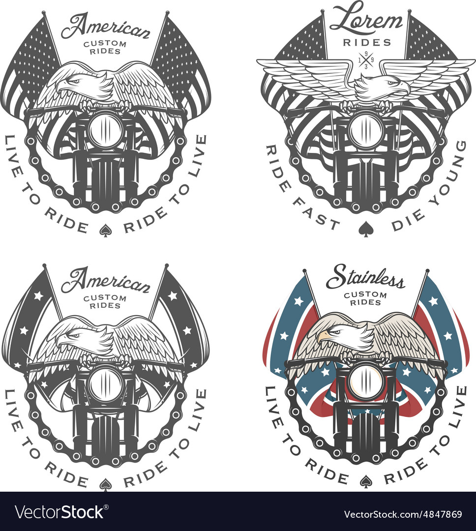 Set of vintage motorcycle emblems vector