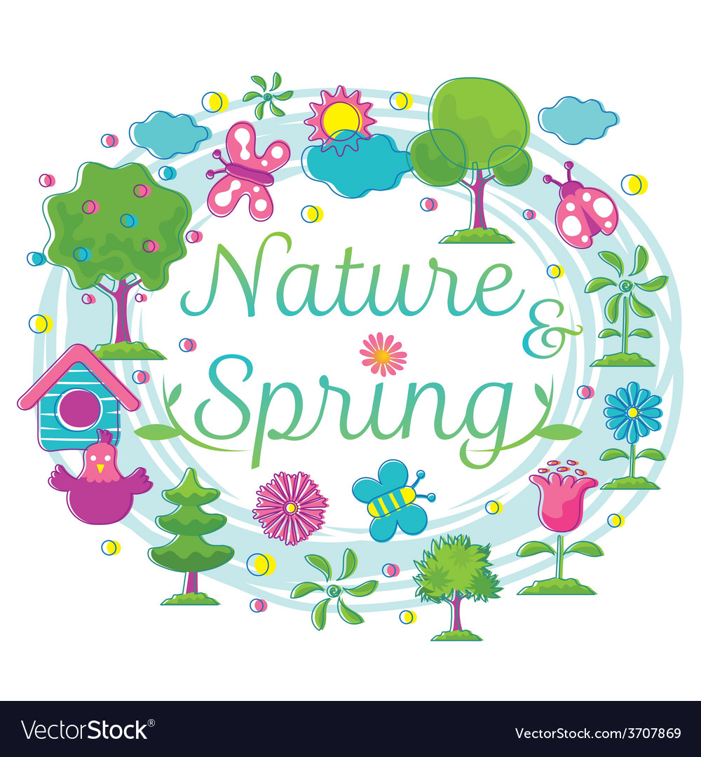 Spring season object icons heading hand draw style vector | Price: 1 Credit (USD $1)