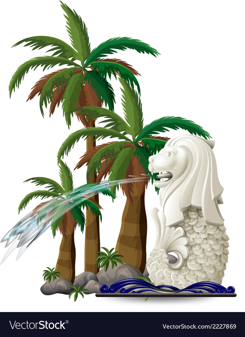 The statue of merlion near the palm trees vector | Price: 1 Credit (USD $1)