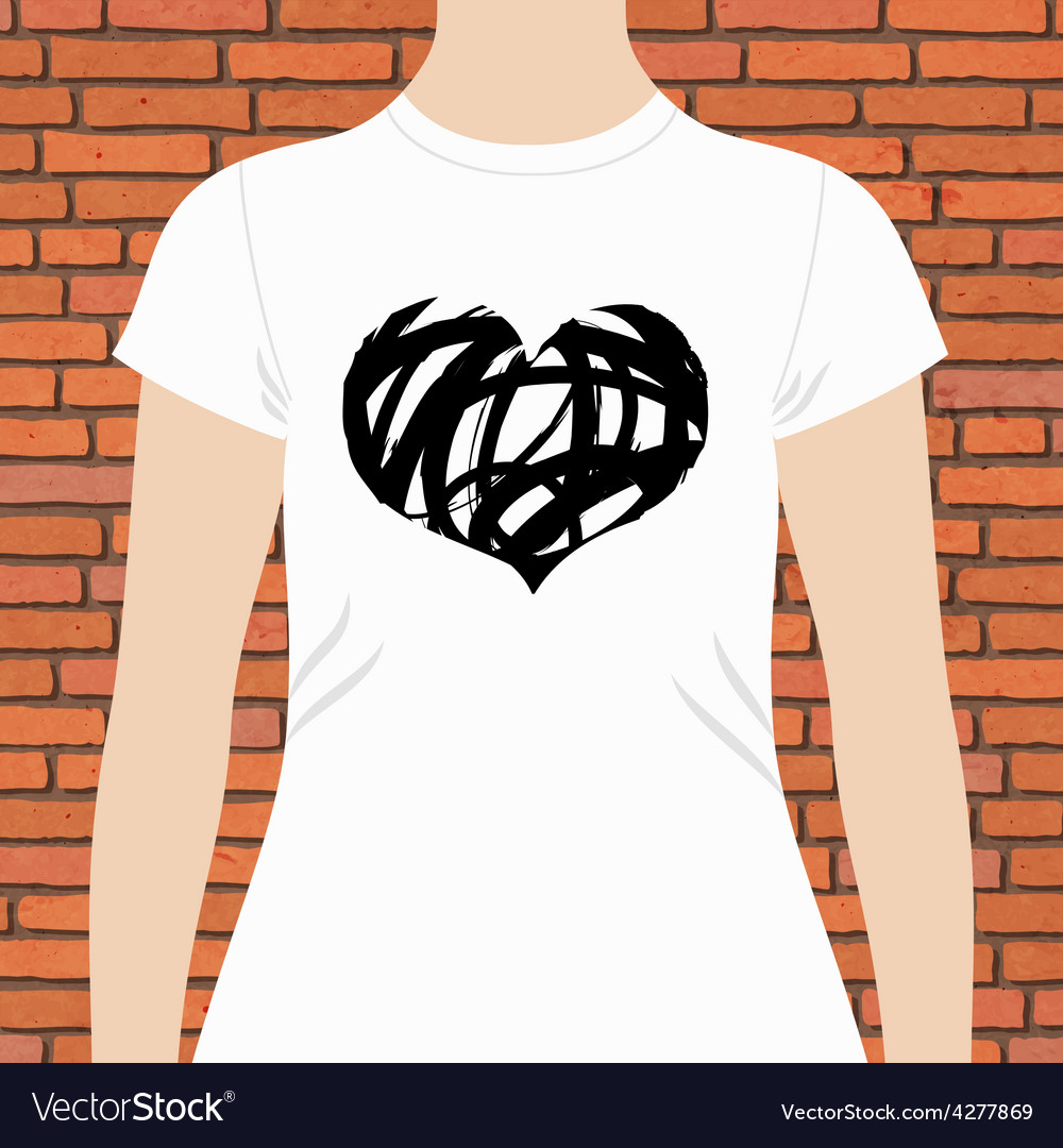 T-shirt template design of a black and white heart vector | Price: 1 Credit (USD $1)