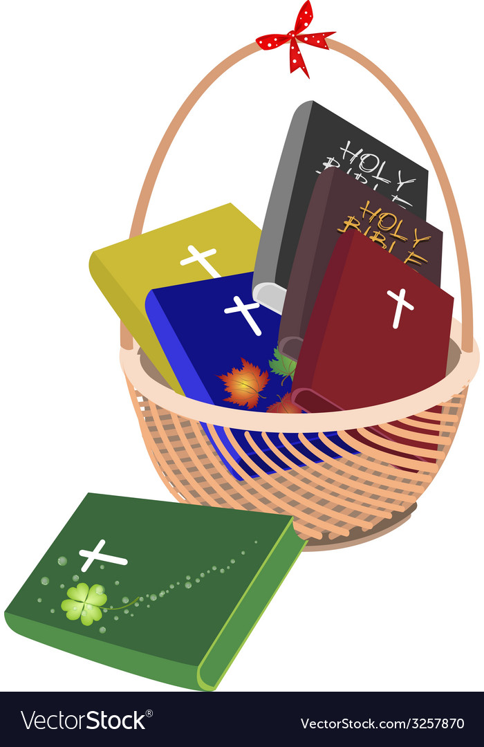 A brown basket with six holy bible vector | Price: 1 Credit (USD $1)