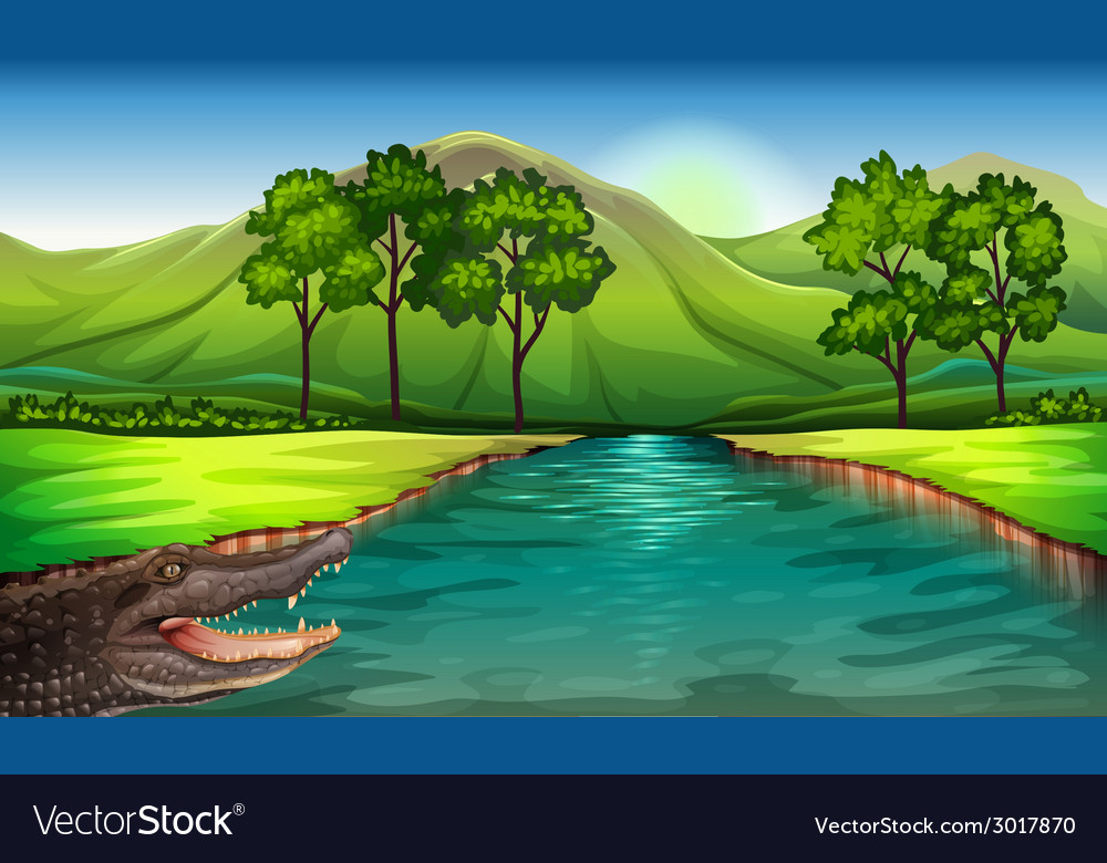 A river with an alligator vector | Price: 3 Credit (USD $3)