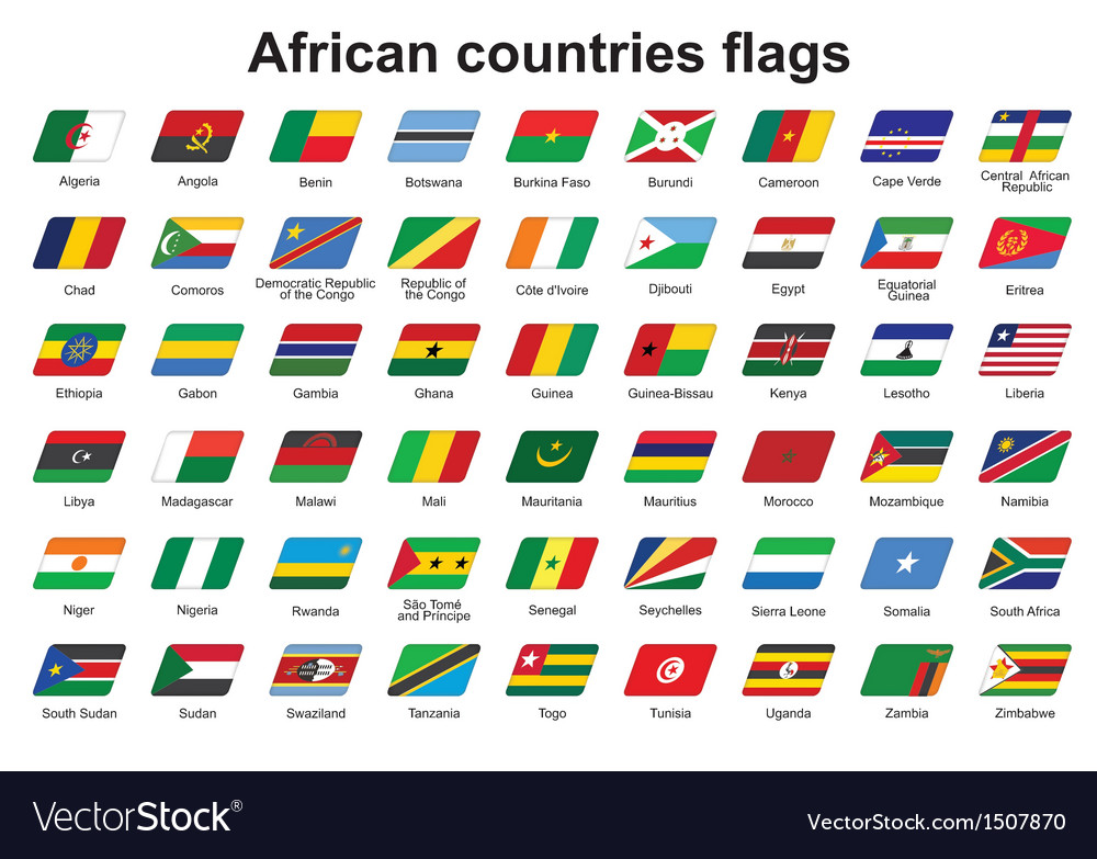 African countries flags icons vector | Price: 1 Credit (USD $1)