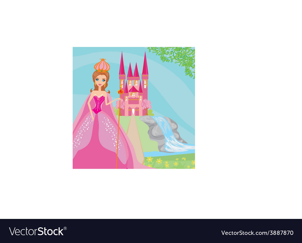 Beautiful young queen in front of her castle vector | Price: 1 Credit (USD $1)