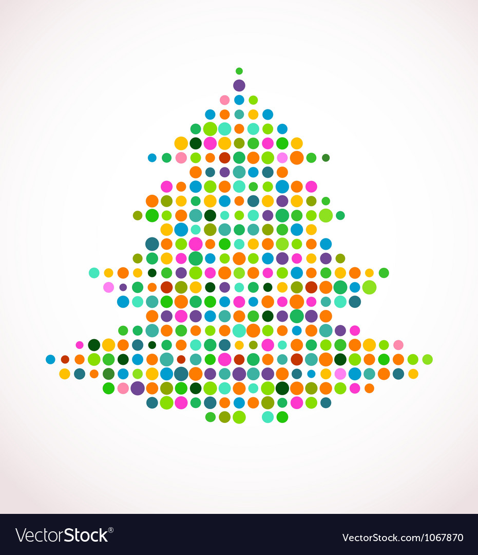 Christmas tree with abstract colorful doted vector | Price: 1 Credit (USD $1)