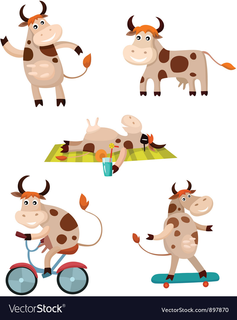 Cow set vector | Price: 3 Credit (USD $3)