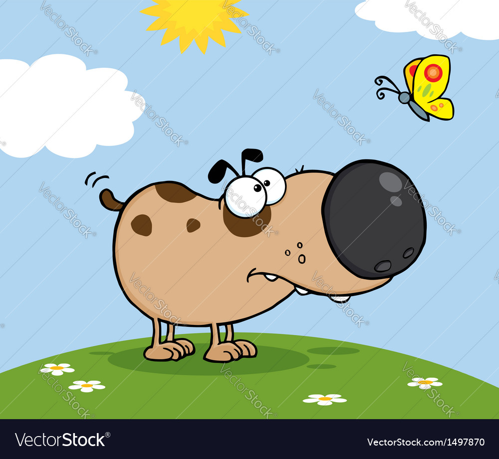 Cute dog with butterfly on a meadow vector | Price: 1 Credit (USD $1)