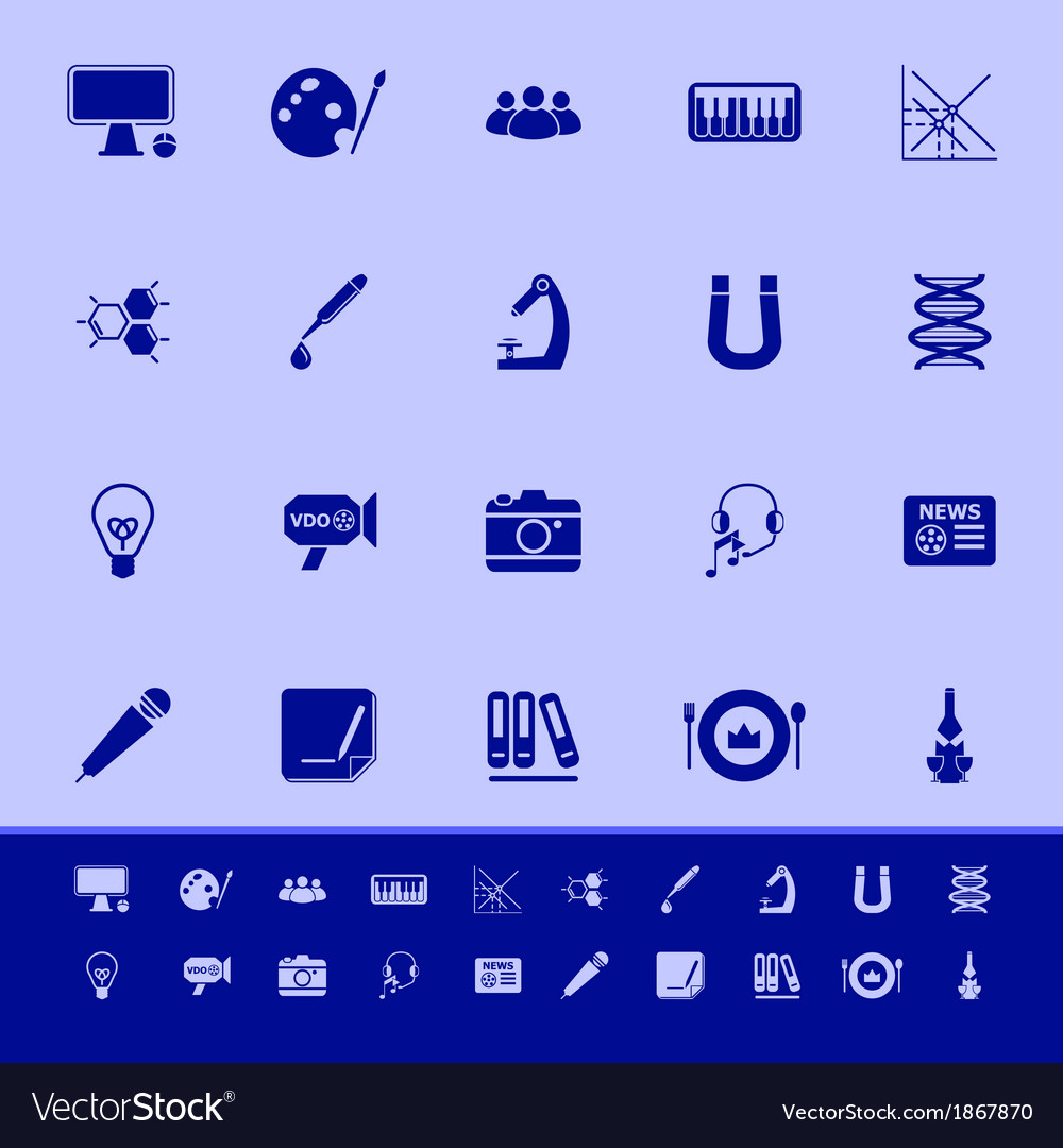 General learning color icons on blue background vector | Price: 1 Credit (USD $1)
