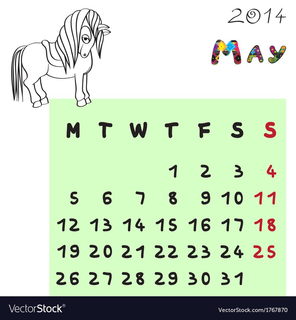 Horse calendar 2014 may vector   Price: 1 Credit (USD $1)