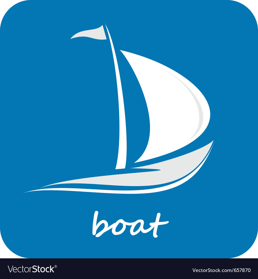 Sailing boat white sailboat on the blue water yach vector | Price: 1 Credit (USD $1)