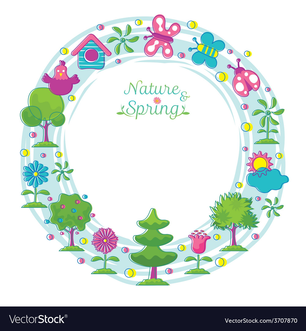 Spring season object icons wreath hand draw style vector | Price: 1 Credit (USD $1)