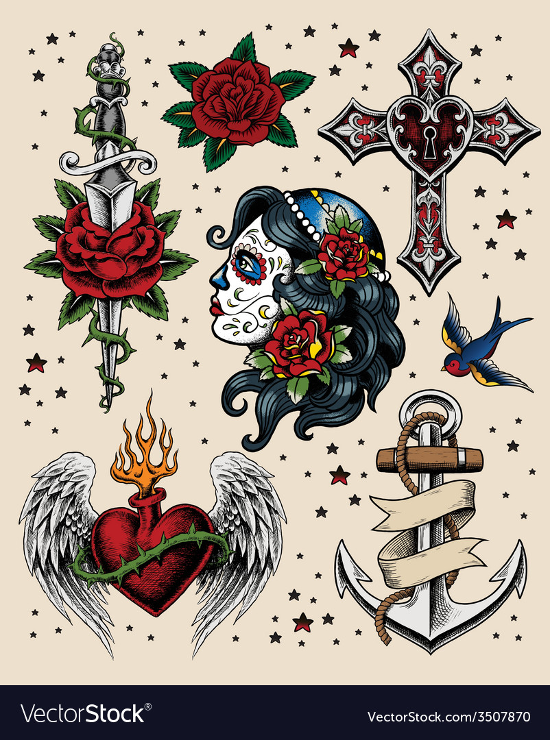 Tattoo flash set vector | Price: 3 Credit (USD $3)