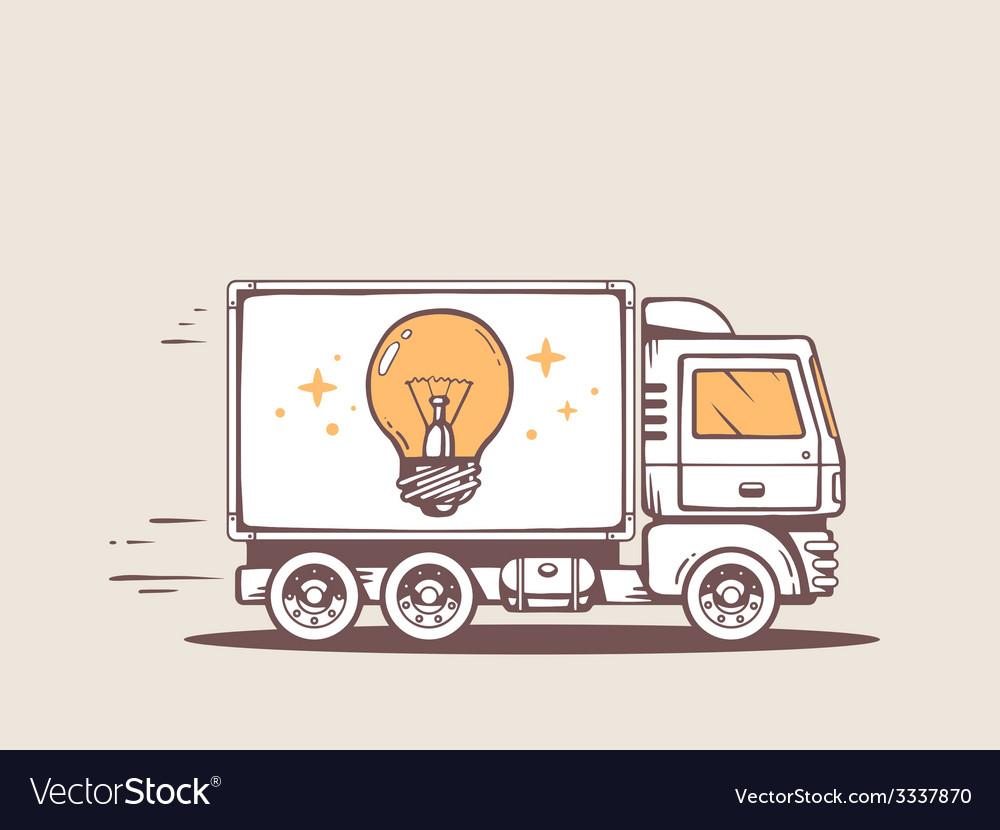 Truck free and fast delivering bulb light vector | Price: 3 Credit (USD $3)