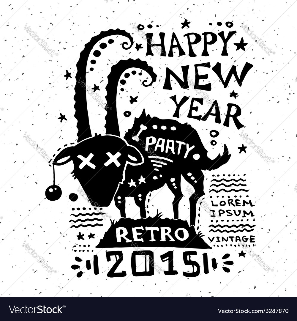 Vintage grunge new year label vector   Price: 1 Credit (USD $1)
