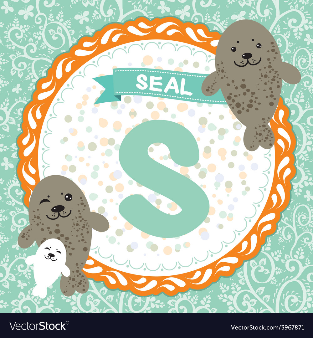 Abc animals s is seal childrens english alphabet vector | Price: 1 Credit (USD $1)