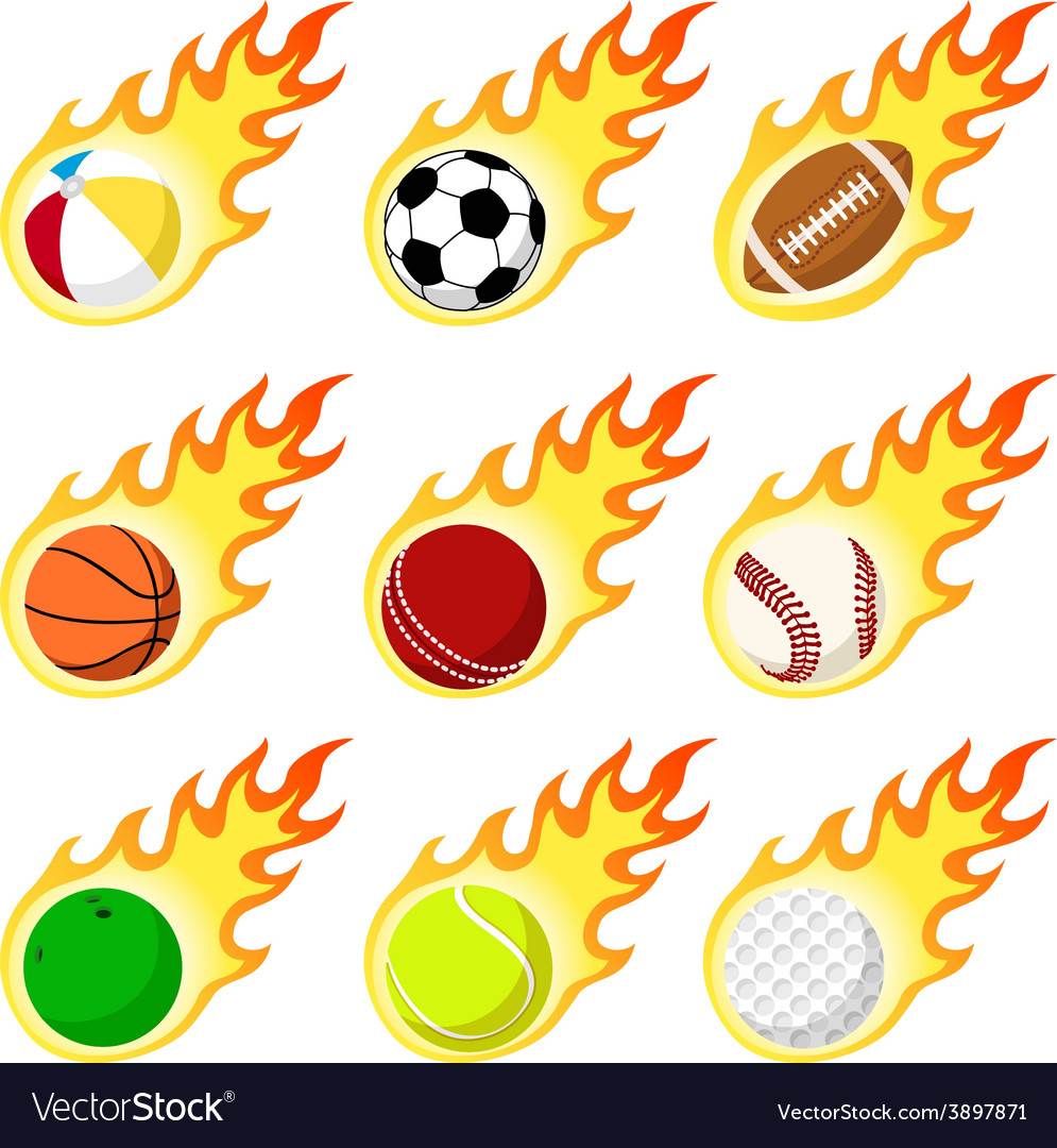 Ball label flame sticker set flat style vector | Price: 1 Credit (USD $1)