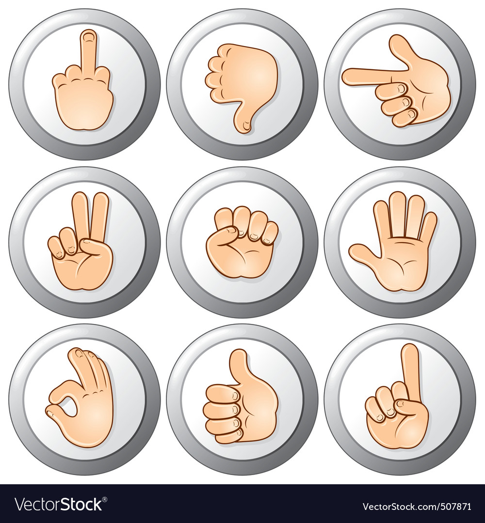 Buttons with hands vector | Price: 1 Credit (USD $1)
