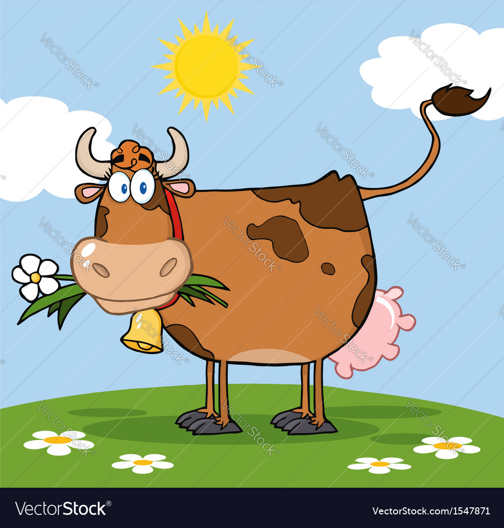 Cow in a paddock vector | Price: 3 Credit (USD $3)