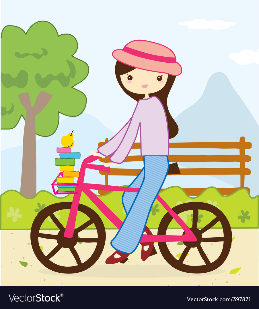 Cute girl bike vector | Price: 1 Credit (USD $1)