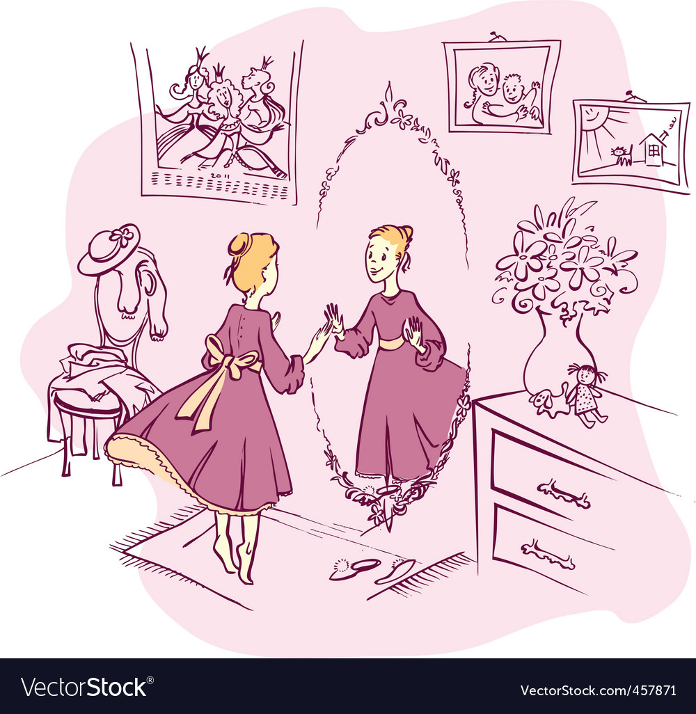 Girl with a mirror vector | Price: 5 Credit (USD $5)