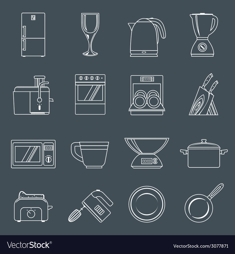 Kitchen appliances icons outline vector | Price: 1 Credit (USD $1)