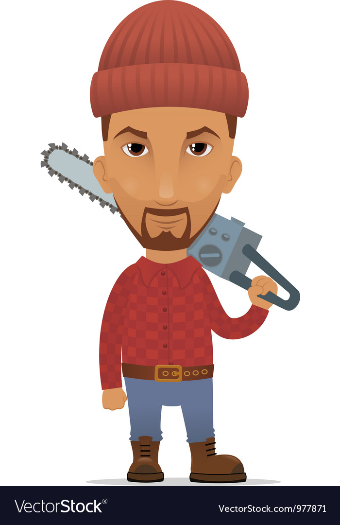 Lumberer with a chain saw vector | Price: 3 Credit (USD $3)