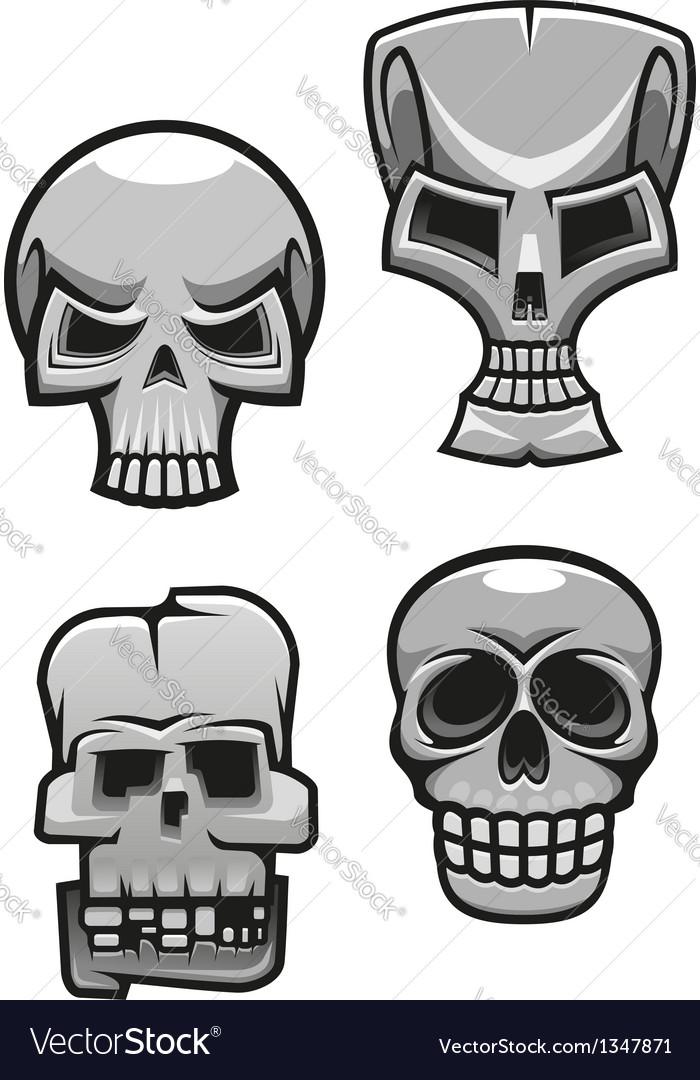 Set of monster skull mascots vector   Price: 1 Credit (USD $1)