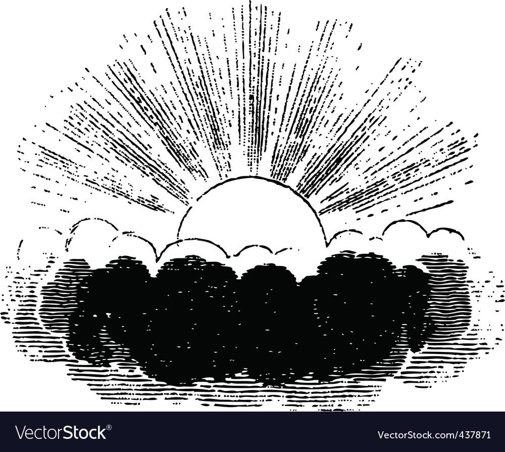 Sun behind a cloud vector | Price: 1 Credit (USD $1)