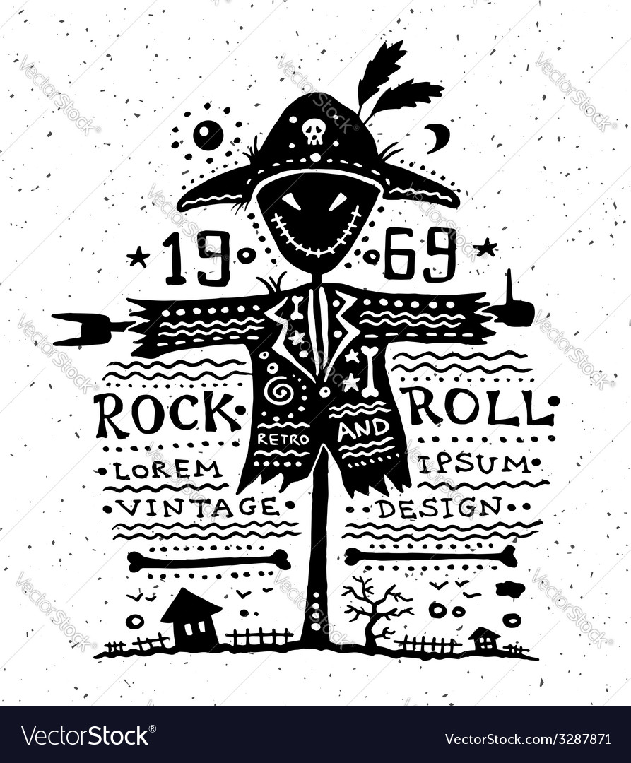 Vintage grunge label with scarecrow vector | Price: 1 Credit (USD $1)