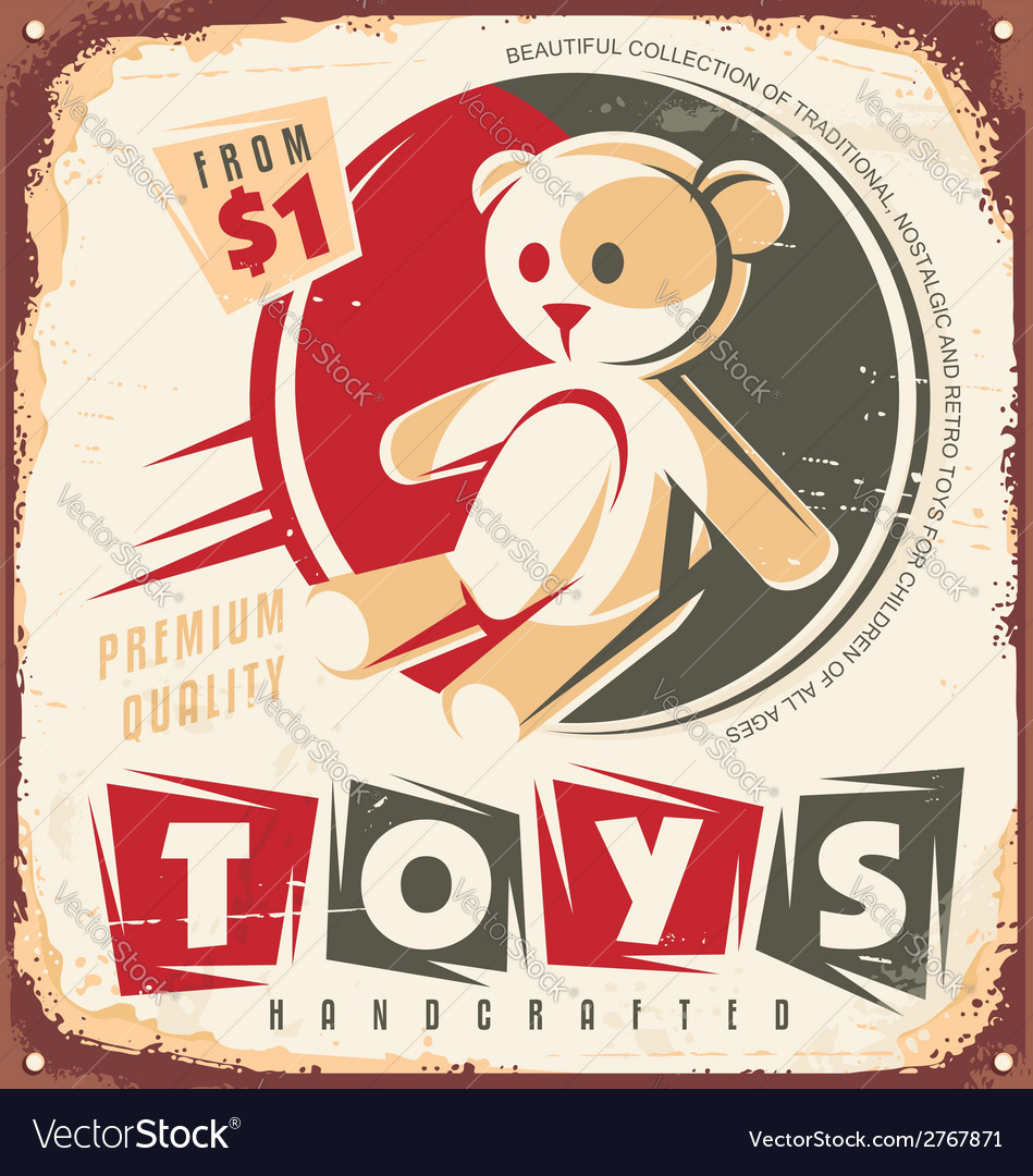 Vintage toy store metal sign vector | Price: 1 Credit (USD $1)