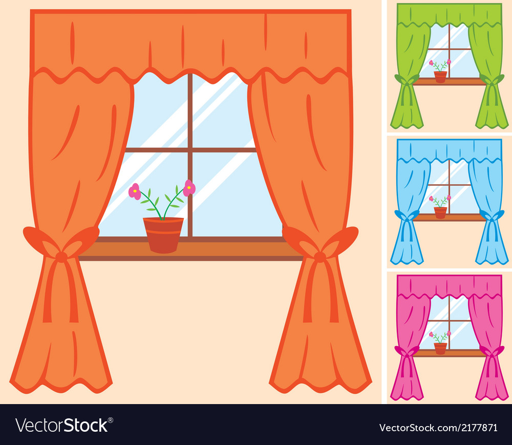 Window with curtain and flower in pot vector | Price: 1 Credit (USD $1)
