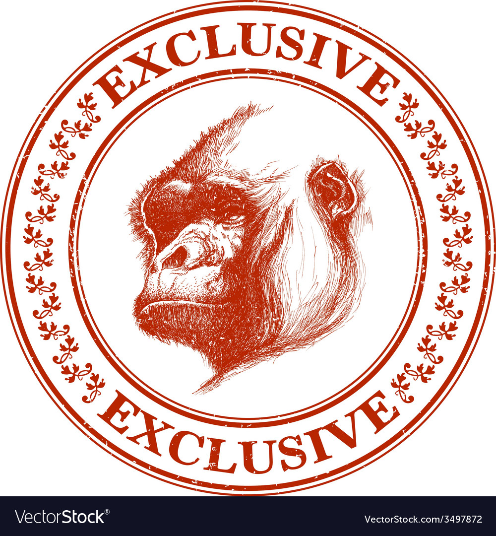 Ape head logo in red and white vector | Price: 1 Credit (USD $1)