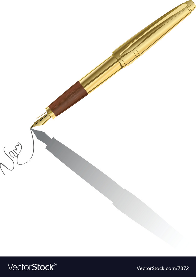 Gold pen signing contract vector | Price: 3 Credit (USD $3)