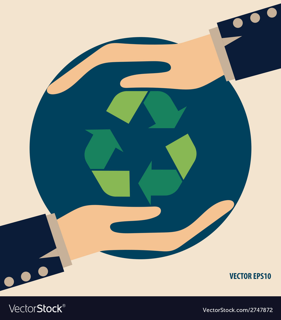 Hand with recycle symbol symbol on the packaging vector | Price: 1 Credit (USD $1)