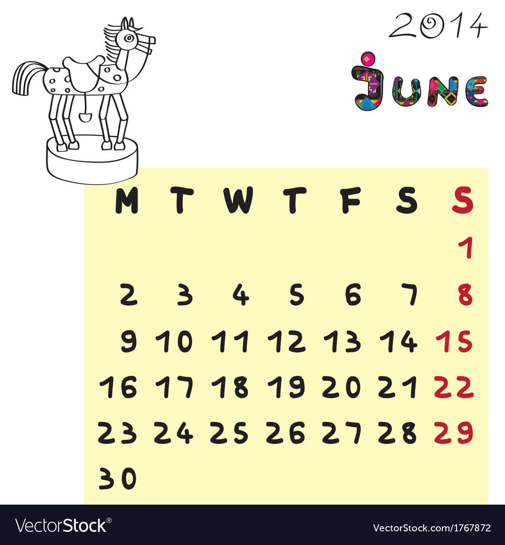 Horse calendar 2014 june vector   Price: 1 Credit (USD $1)