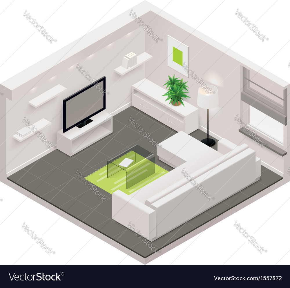 Isometric living room icon vector | Price: 1 Credit (USD $1)