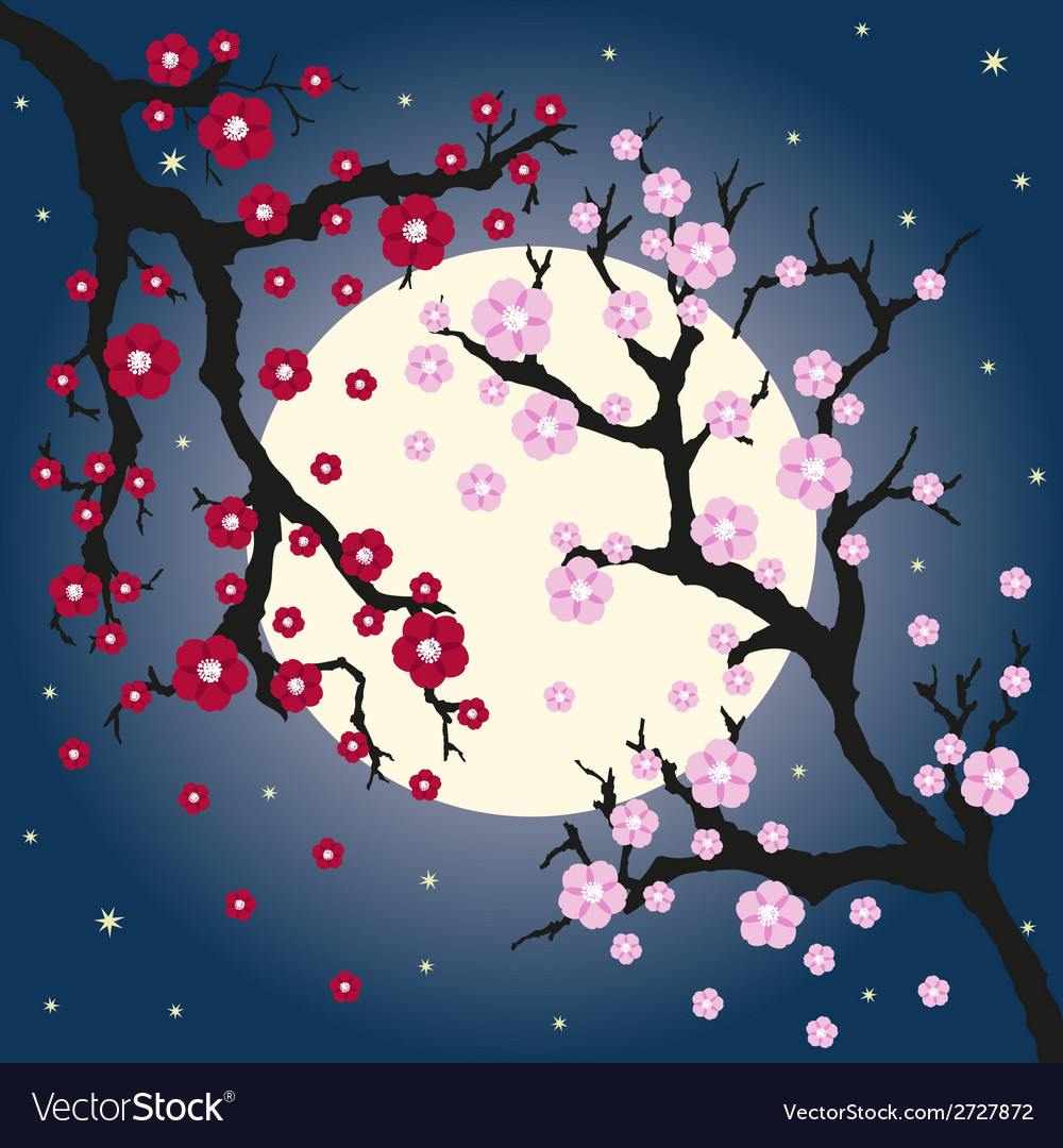 Oriental cherry and moon vector | Price: 1 Credit (USD $1)