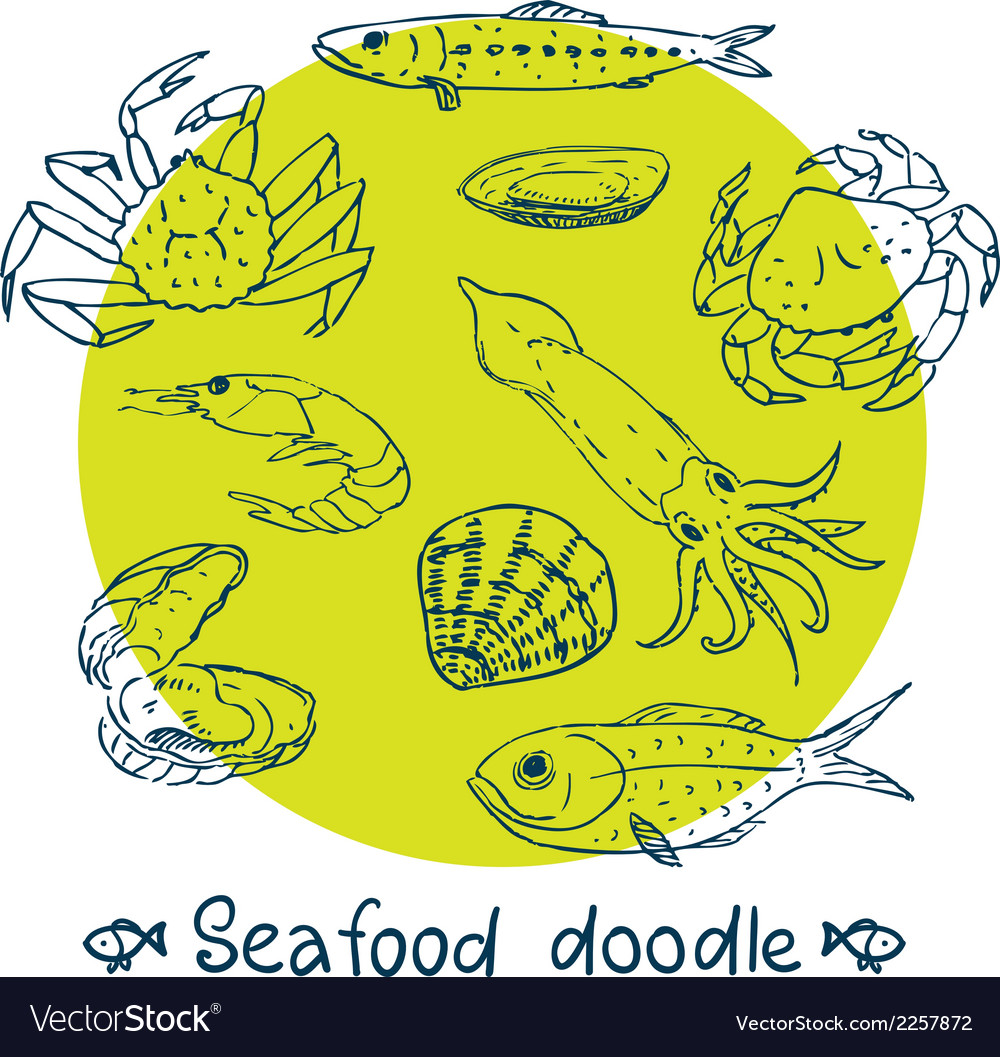 Scribble series seafood set vector | Price: 1 Credit (USD $1)