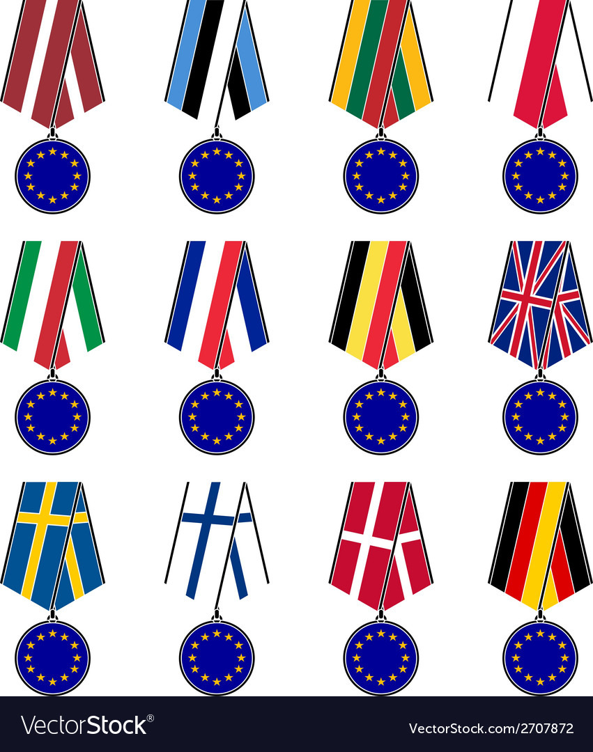 Set of european medals vector | Price: 1 Credit (USD $1)