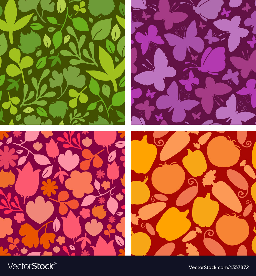 Set of four plants and butterflies seamless vector
