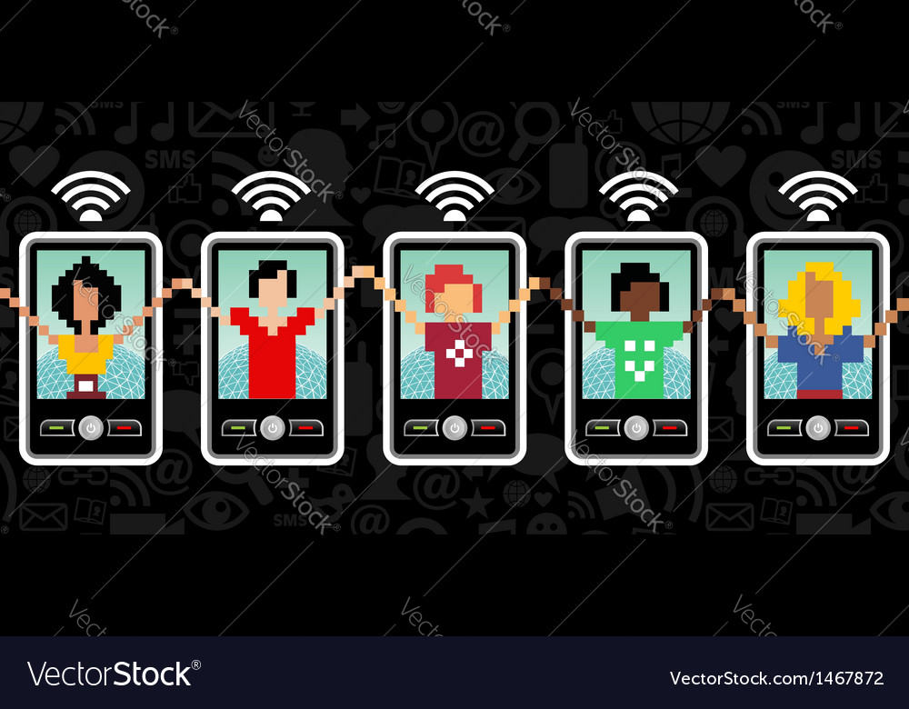 Social media cell phone communication vector | Price: 1 Credit (USD $1)