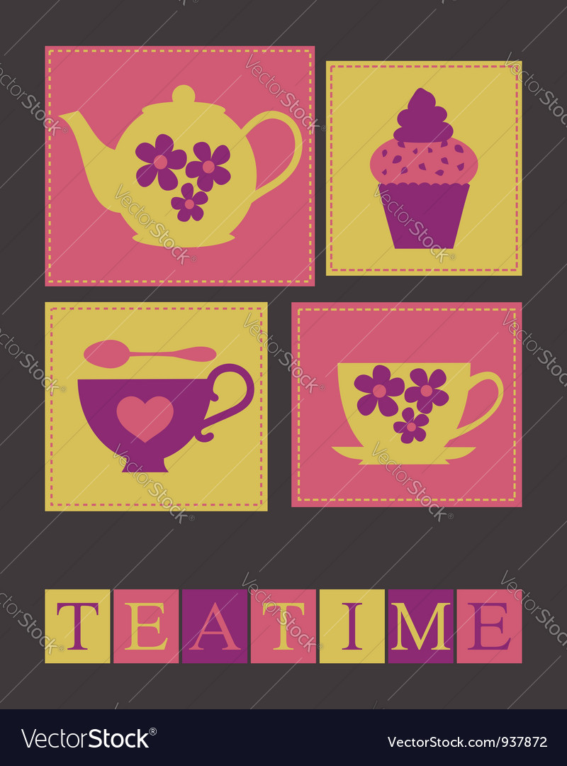 Teatime card vector | Price: 1 Credit (USD $1)