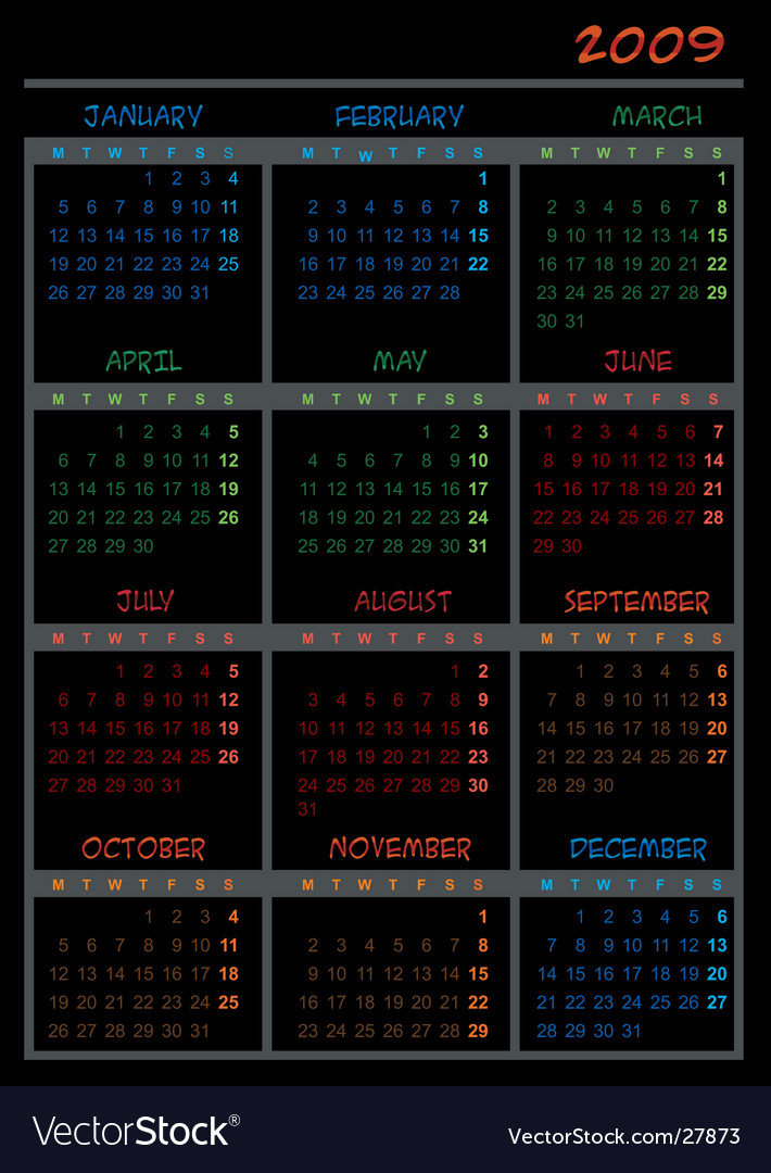 Black calendar for 2009 vector | Price: 1 Credit (USD $1)