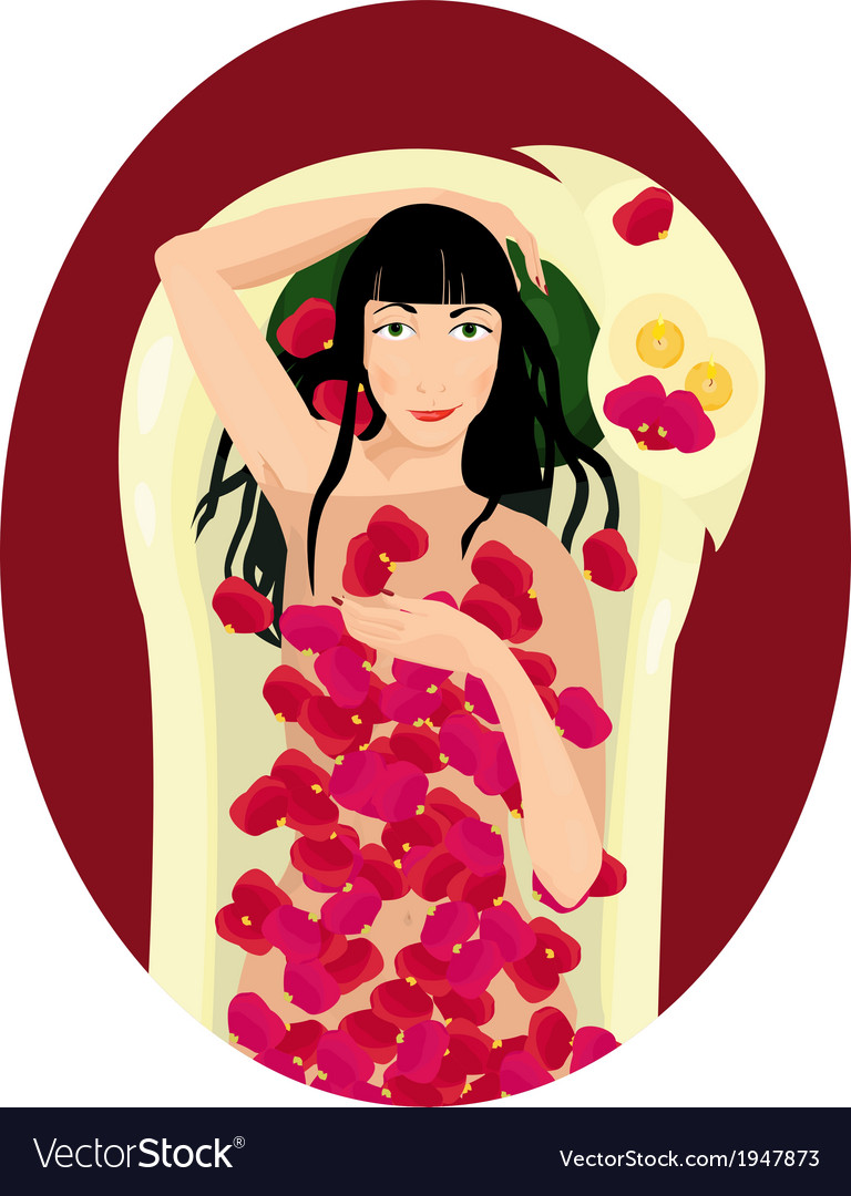Black haired woman takes a bath with rose petals vector | Price: 1 Credit (USD $1)