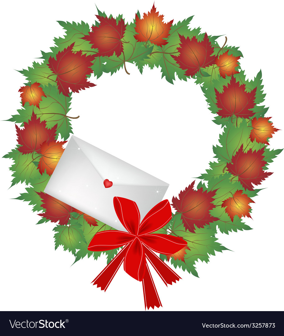 Christmas wreath of maple leaves and envelope vector | Price: 1 Credit (USD $1)