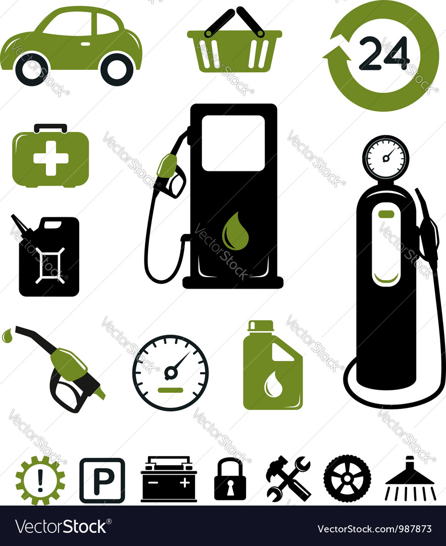 Gasoline station icons set vector | Price:  Credit (USD $)