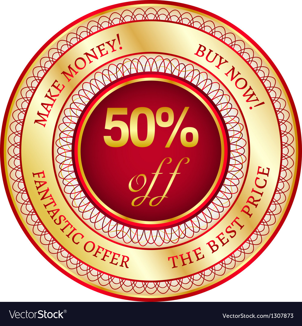Label on 50 percent discount vector | Price: 1 Credit (USD $1)