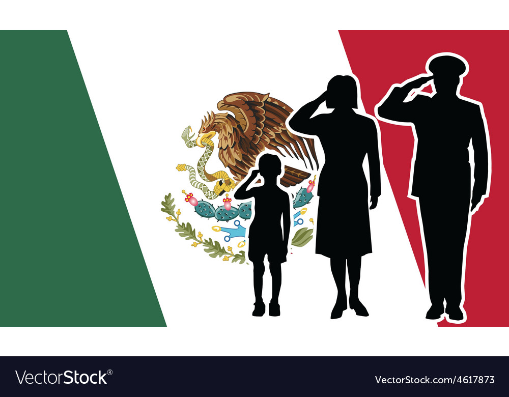 Mexico soldier family salute vector | Price: 1 Credit (USD $1)